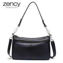 Zency Bolso de mano de piel auténtica para mujer, bandolera cruzada, a la moda, color negro, de alta calidad, 100%