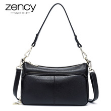 Zency Elegant Women Handbag 100% Genuine Leather Ladies Shoulder Bag Crossbody Messenger Purse Fashion Hobos Black High Quality