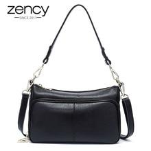Zency elegante bolsa feminina 100% senhoras de couro genuíno bolsa ombro crossbody messenger bolsa moda hobos preto alta qualidade