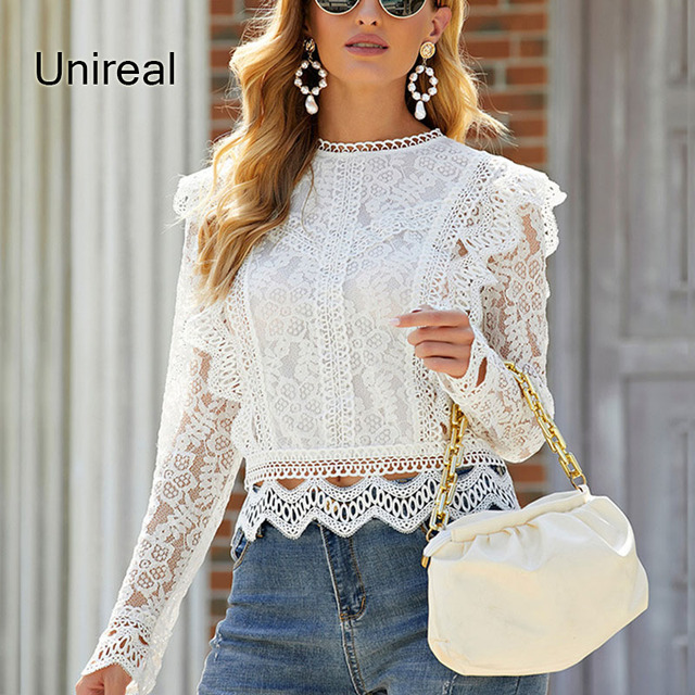 Unireal 2021 Summer Women White Lace Blouse Shirt Long Sleeve Vintage Cute Ruffle Blouse Sexy Tops 1