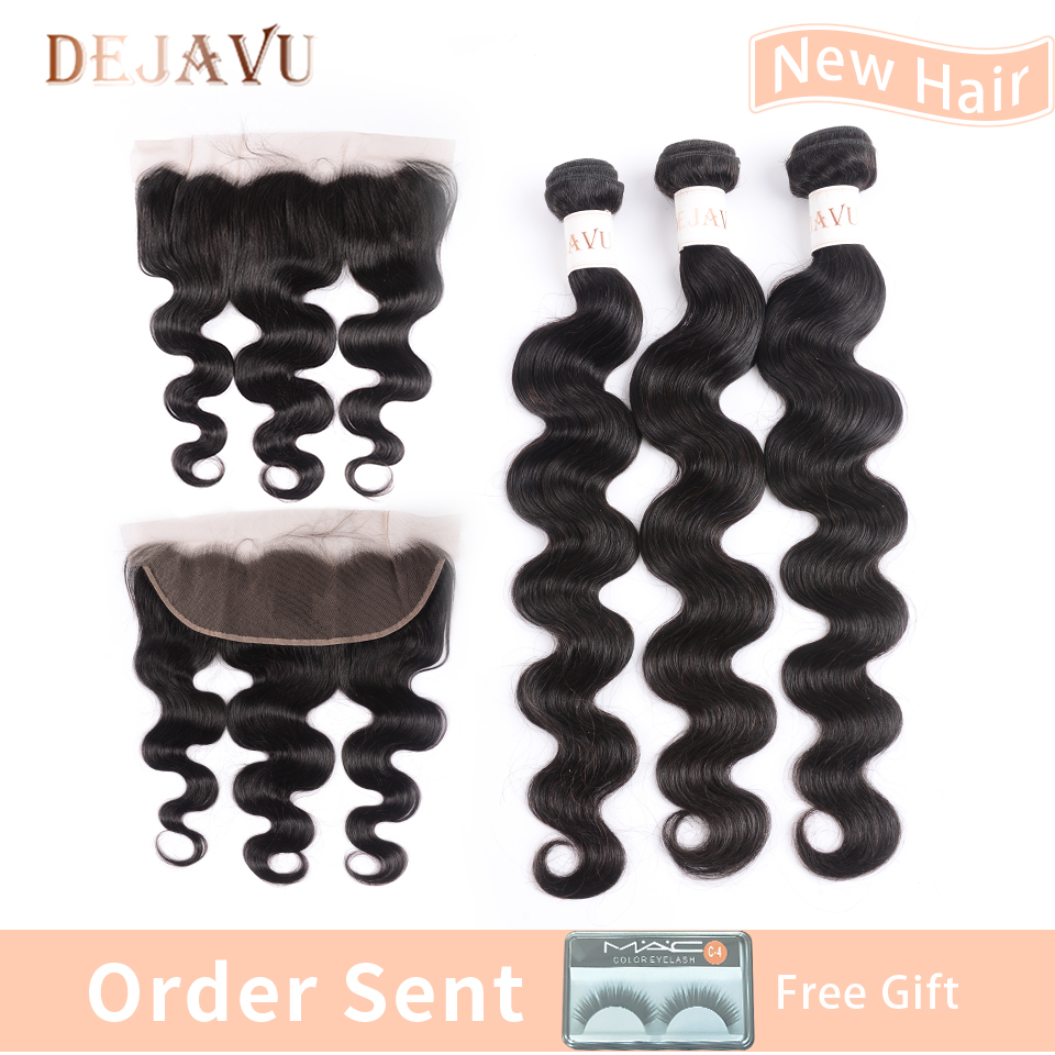 Brazilian Body Wave 3 Bundles With Frontal Human Hair Weave Bundles Deals With Lace Frontal Closure Dejavu Hair Non Remy Dejavu