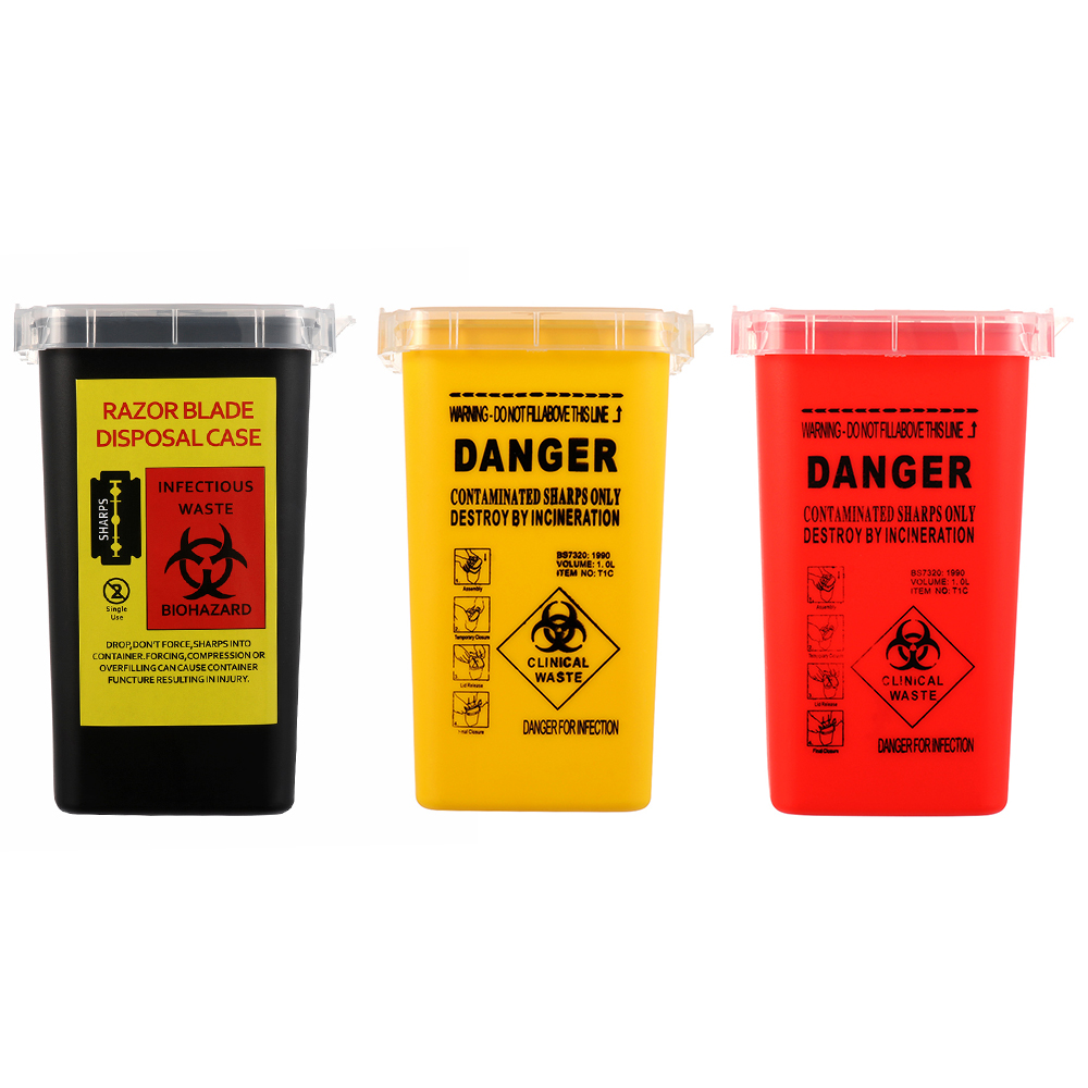 1L Capacity Tattoo Artist Waste Box Tattoo Piercing Needles Disposal Sharps Container Medical Needles Bin Biohazard Collect Wast
