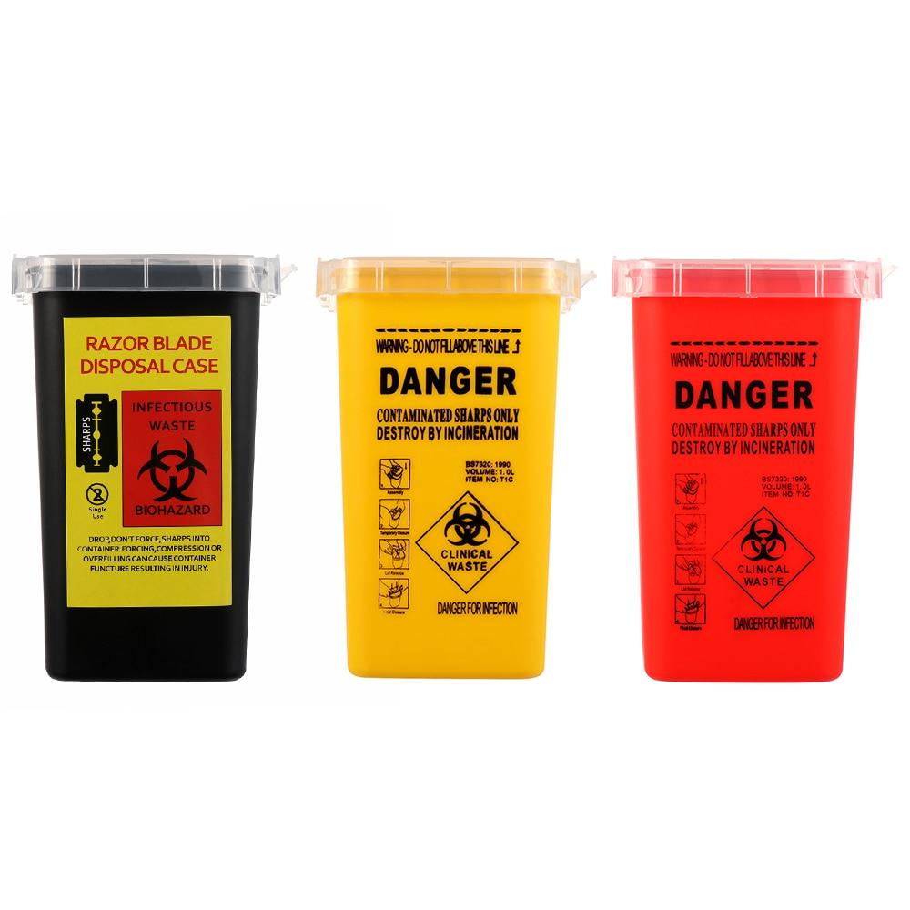 1L Capacity Tattoo Artist Waste Box Tattoo Piercing Needles Disposal Sharps Container Needles Bin Biohazard Collect Wast