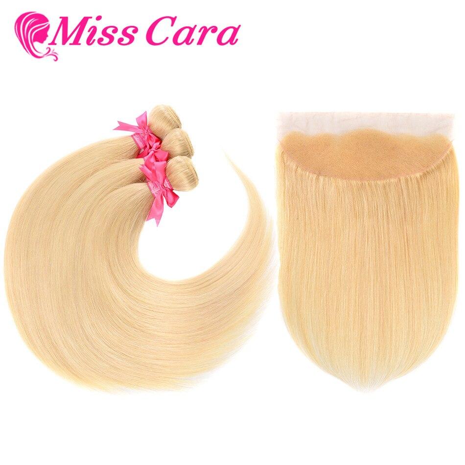 Miss Cara 613 Blonde Peruvian Straight Hair Bundles With Frontal 100 Remy Blonde Human Hair 3
