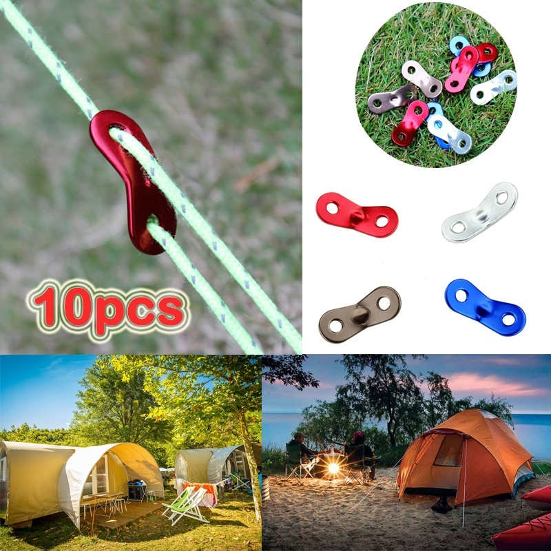 5pc 3 Hole Knot Tent Wind Rope Buckle Anti-slip Hook Hanger Tightener Camping
