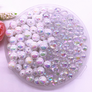 4-14mm Colour AB Charms Round Acrylic Beads Loose Spacer Beads for Jewelry Makeing DIY Handmade Bracelet Accessories