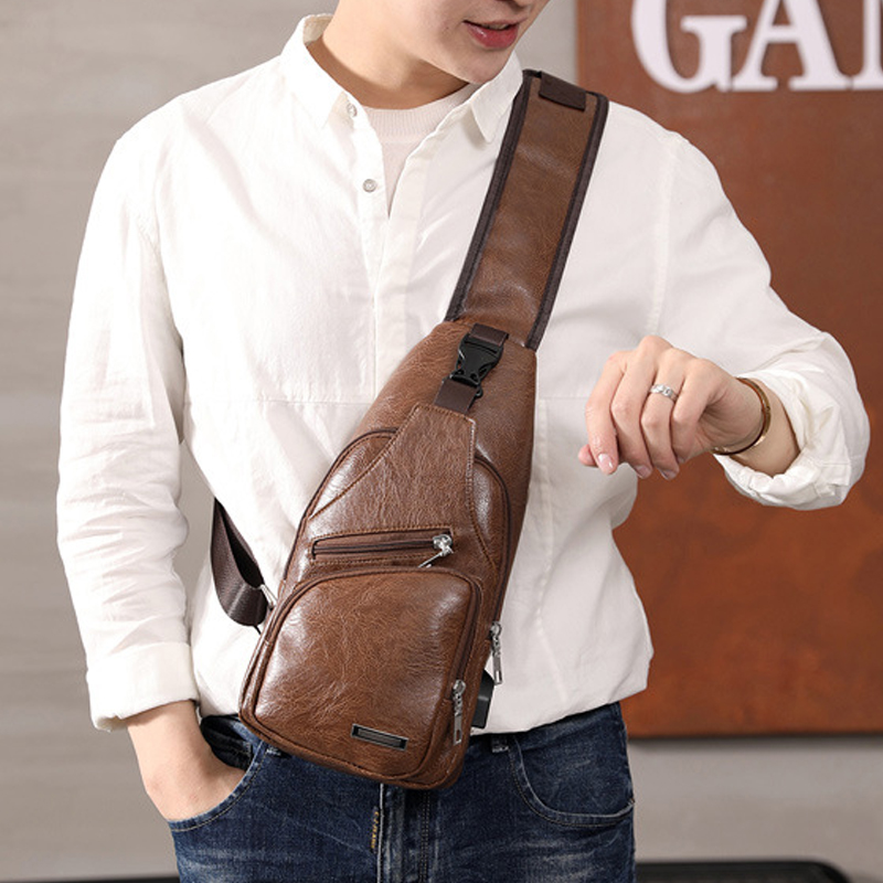 Men's Chest Bag Hot Men Leather Chest USB Backbag With Headphone Hole Travel Organizer Male Bag