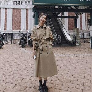 2020 herbst Frauen Graben Mantel Mit Gürtel Frauen Kleidung Blau Mantel Casaco Feminino Harajuku Abrigo Mujer Lange Graben Femme