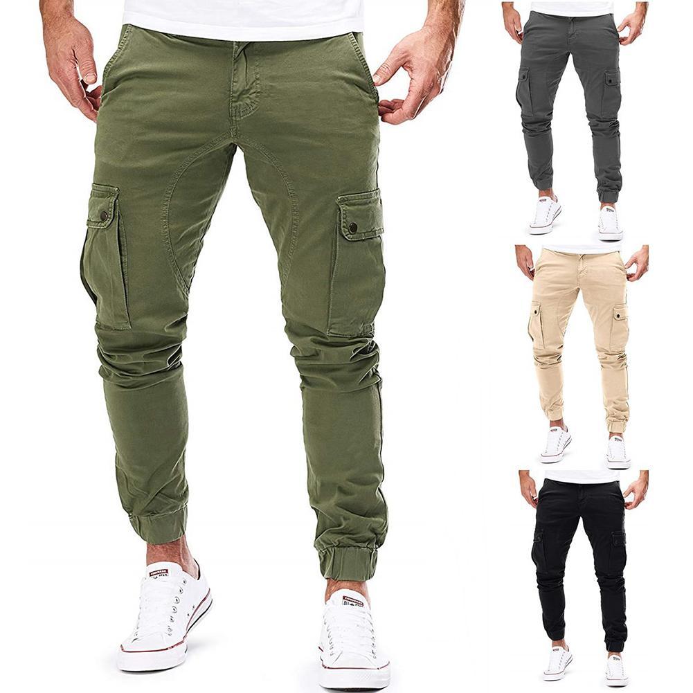 Pants Men Big Pockets Pants  Cargo Pants Men Woven Casual Pants