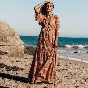 Женское богемное платье с вышивкой, шифоновое платье с v-образным вырезом и разрезом, летнее пляжное платье-макси розового цвета