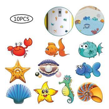 10pcs/set Bath Sticker Wall Sticker Tile Stickers Ocean World Scrub Cartoon Stickers in the Bathroom for Children Baby on Bath #