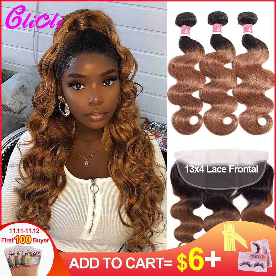 1B 30 Ombre Bundles With Frontal Body Wave Brazilian Remy Human Hair Weave Bundles With Closure 150% Density Pre Plucked Clicli