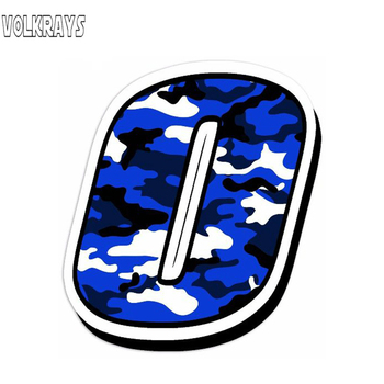 Volkrays Personality Numbers Car Sticker Vinyl Camouflage Blue Decal Decoration Accessories Waterproof Sunscreen Decl,13cm*10cm image