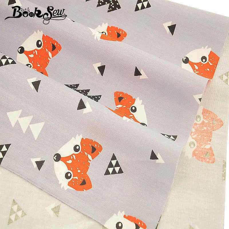 Booksew ผ้าฝ้าย Quilting เด็ก DIY Patchwork เย็บรูปแบบสุนัขจิ้งจอกผ้าสีเทา Tecido วัสดุสิ่งทอผ้าขนาดชุด