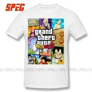 Image 2 - Grand Theft Dragon Ball Z GTA Funny Tee Shirts Cartoon Gift Boyfriend Boy 100% Cotton Short Sleeve T Shirt Men T Shirt Plus Size