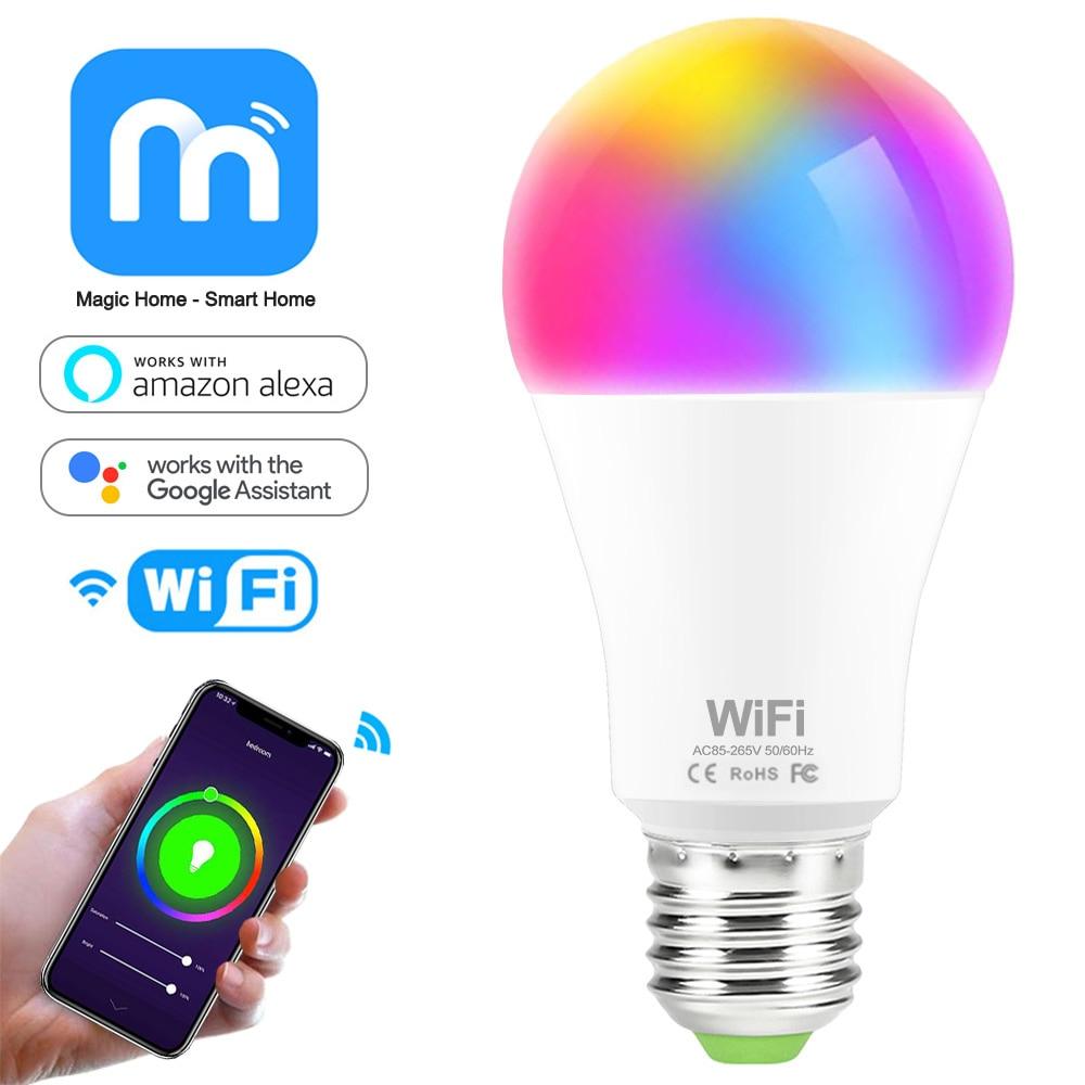 E27 WiFi Smart Light Bulb B22 RGB Lamp 15W 110V 220V Dimmable Bulbs APP Voice Control Compatible with Amazon Alexa Google Home