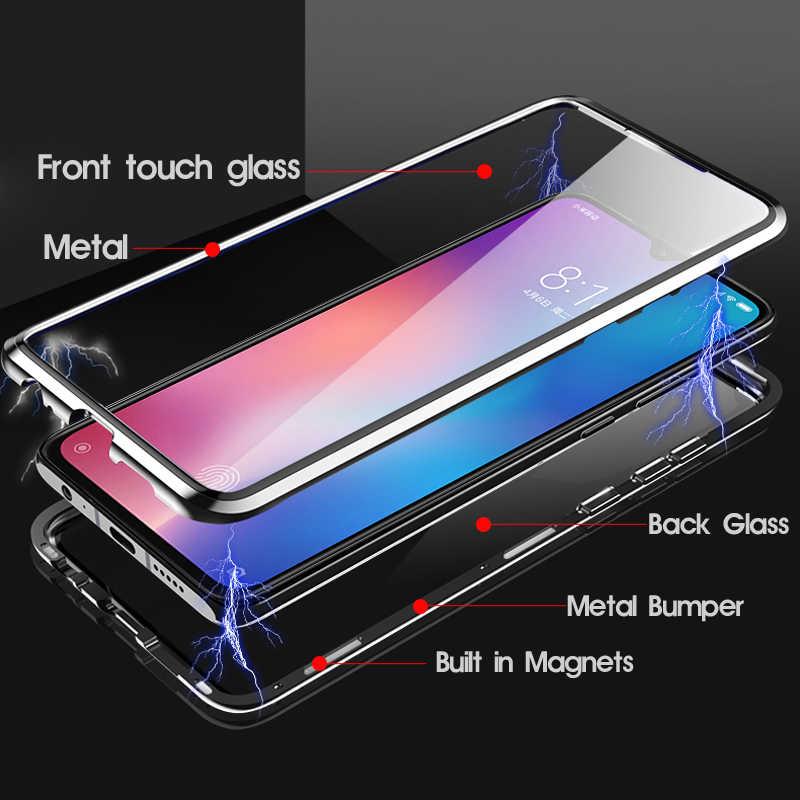 Double Sided Magnetico Cassa Del Metallo per Xiao mi mi 9 SE 8 CC9 A2 A3 Lite F1 MAX 3 DI vetro copertura Per Red mi K20 NOTA 8T 8 7 10 Pro Caso