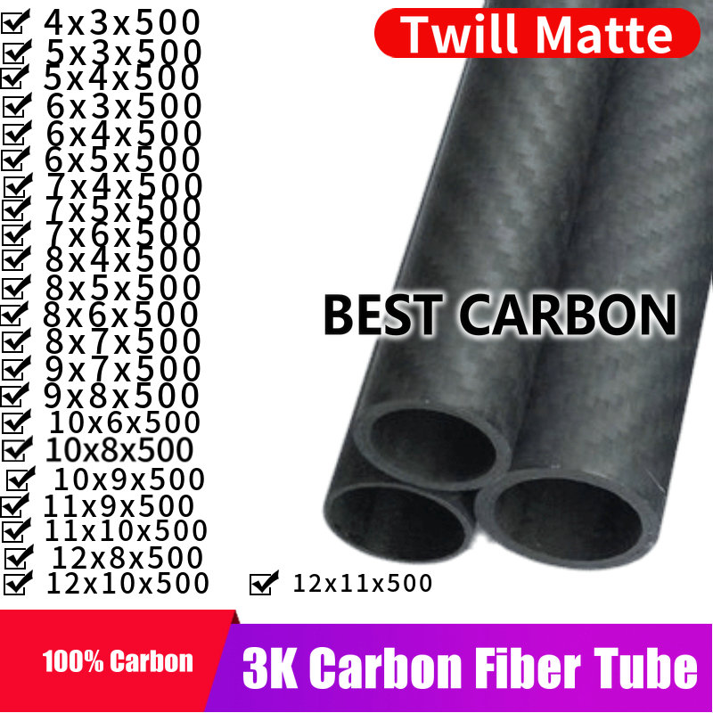 Free Shiping 4 5 6 7 8 9 10 11 12mm With 500mm Length High Quality Twill Matte 3K Carbon Fiber Fabric Wound Tube, CFK TUBE ROHRE