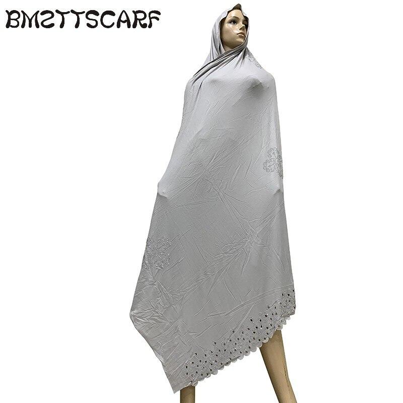 Image 3 - 100% Soft Cotton Scarf KASHKHA Scarf for African Muslim Women  Dubai Pray Big Shawls with rhinestones  BM826Womens Scarves   -