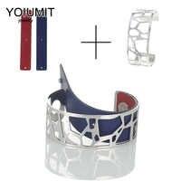 Cremo Giraffe Argent Cuff Bangles For Women Yoiumit Stainless Steel Braccelets Manchette Femmes Interchangeable Leather Pulseira