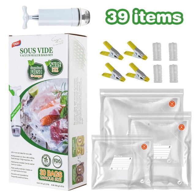 TAILI sacs réutilisables d'économie de Vide sac de stockage de nourriture sac de Compression pour garder les aliments frais et savoureux Sous Vide organisateur de réfrigérateur de cuisine