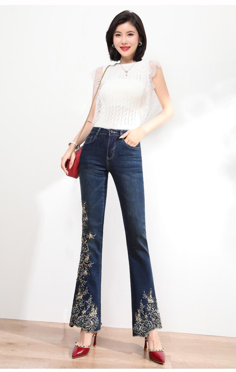 KSTUN FERZIGE Jeans Women High Waist Stretch Dark Blue Flared Pants Embroidery Hand Beads Bell Top Quality Mujer Jeans Plus Size 36 14