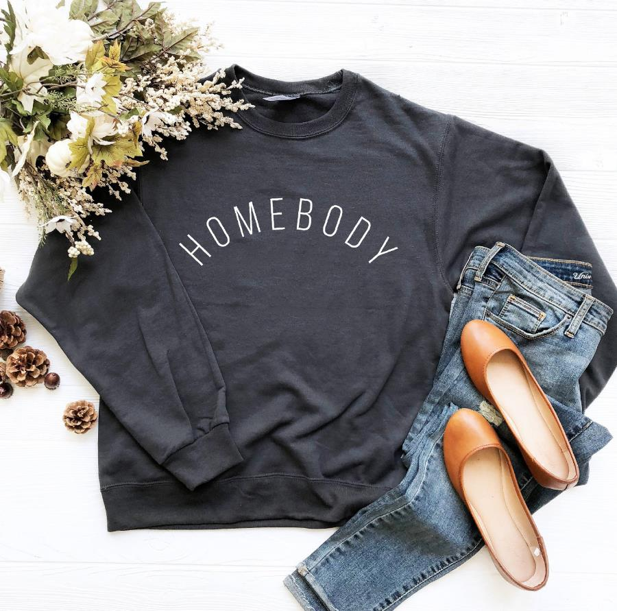 Homebody Print Women Sweatshirts Casual Hoodies For Lady Girl Funny Hipster Jumper Drop Ship SW-20