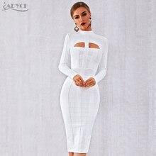 Adyce 2020 novo outono mulheres branco bodycon bandage vestido de manga longa sexy oco para fora clube celebridade festa à noite vestido