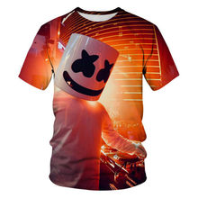 2021 nova moda tendência 3d nova camiseta luz acima estrela design tendência engraçado marshmallow nova camiseta dos desenhos animados marshmallow filme de terror