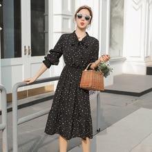 Summer Korean Chiffon Women Dress Elegant Ladies Vintage Boho Floral Office Long Sleeve  dress Dots