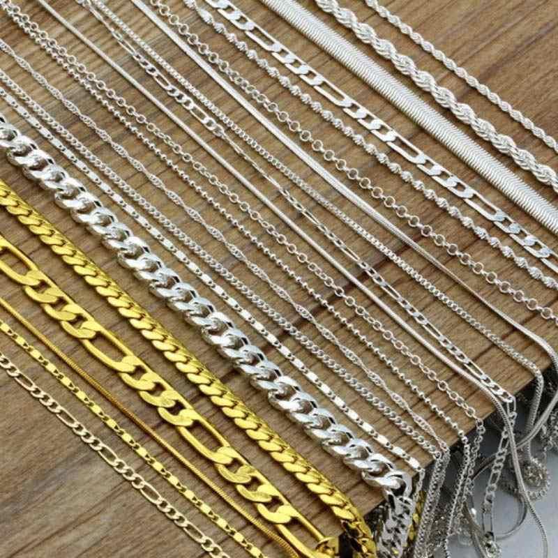 16-30 cali moda posrebrzane łańcuch Figaro łańcuszki na szyję Twist ograniczenia naszyjniki dla mężczyzn kobiety długi łańcuch naszyjniki partii hurtowych