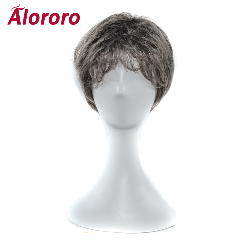 Alororo Men's Middle-aged and Older Short Straight Hair  Wig White Hair Old Man Heat Resistant Synthetic Man Mens Wig