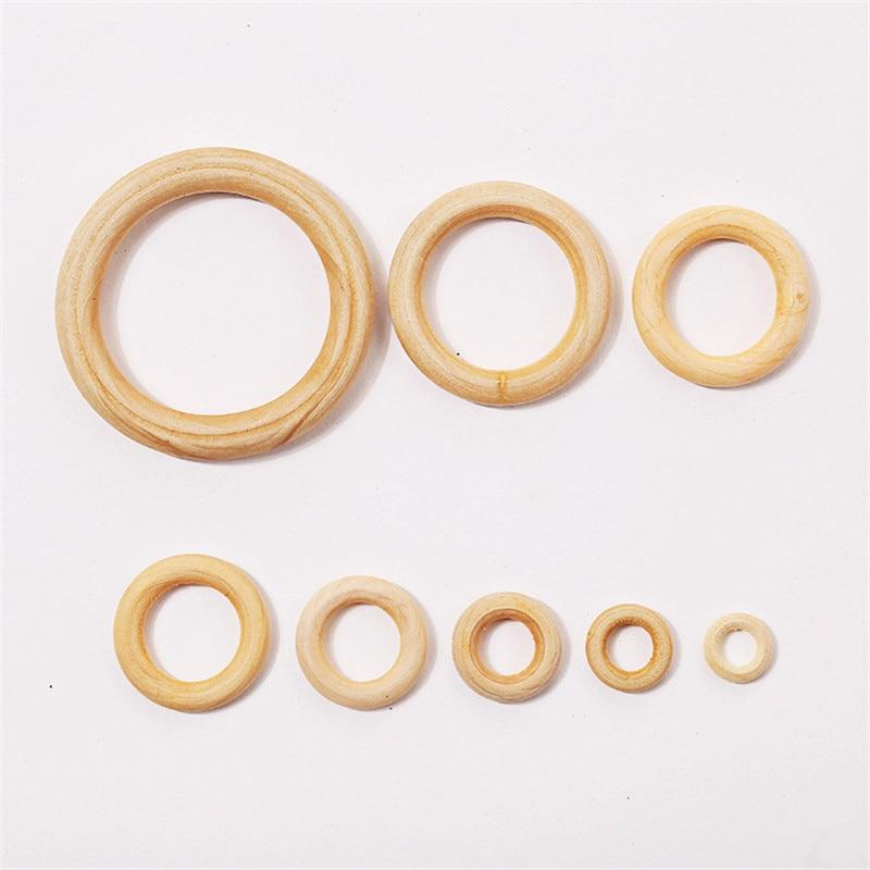 Кольца из необработанной древесины и деревянные бусины для рукоделия, макраме, подвески-кольца и соединители для изготовления ювелирных из...