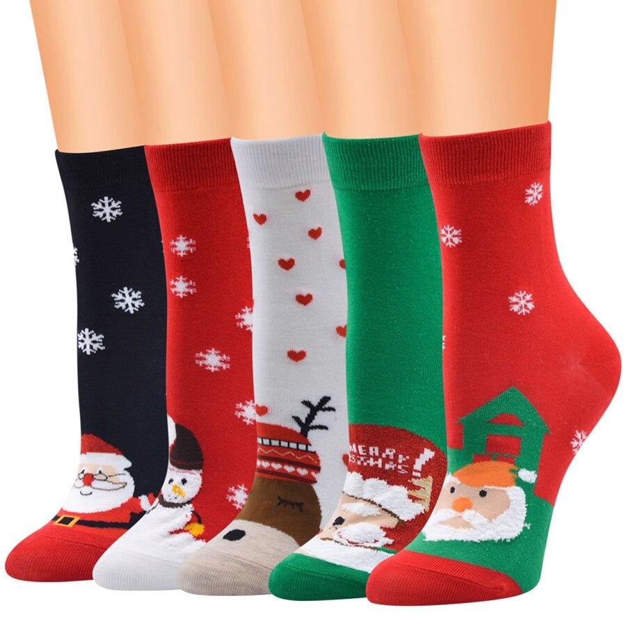 Christmas Socks Cotton Women Socks Christmas Pattern Girl Cotton Socks Cartoon Personality Trend Socks