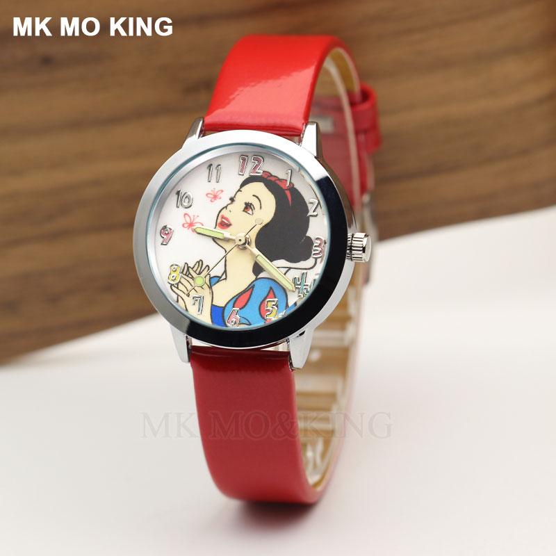 Luxury Brand White Snow Lovely Cartoon Beautiful Princess Children's Boys Girls Kids Quartz Wrist Watch Clock Gift Bracelet Role