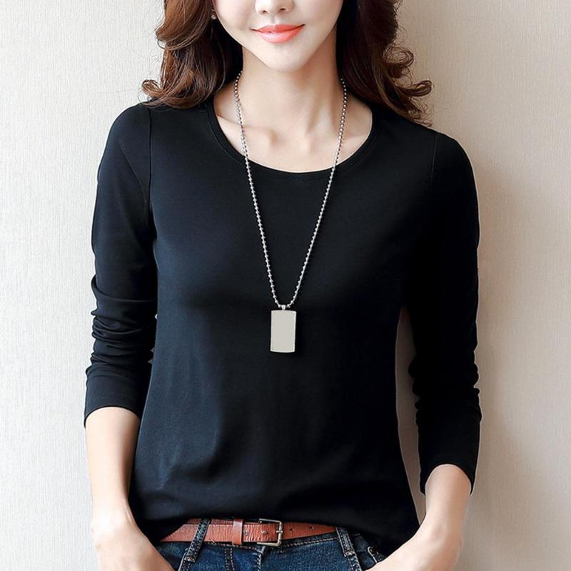 Fashion Women Tops Long Sleeve O Neck Solid Slim Basic T-shirts Wild Bottoming Tees Casual Female L-4XL