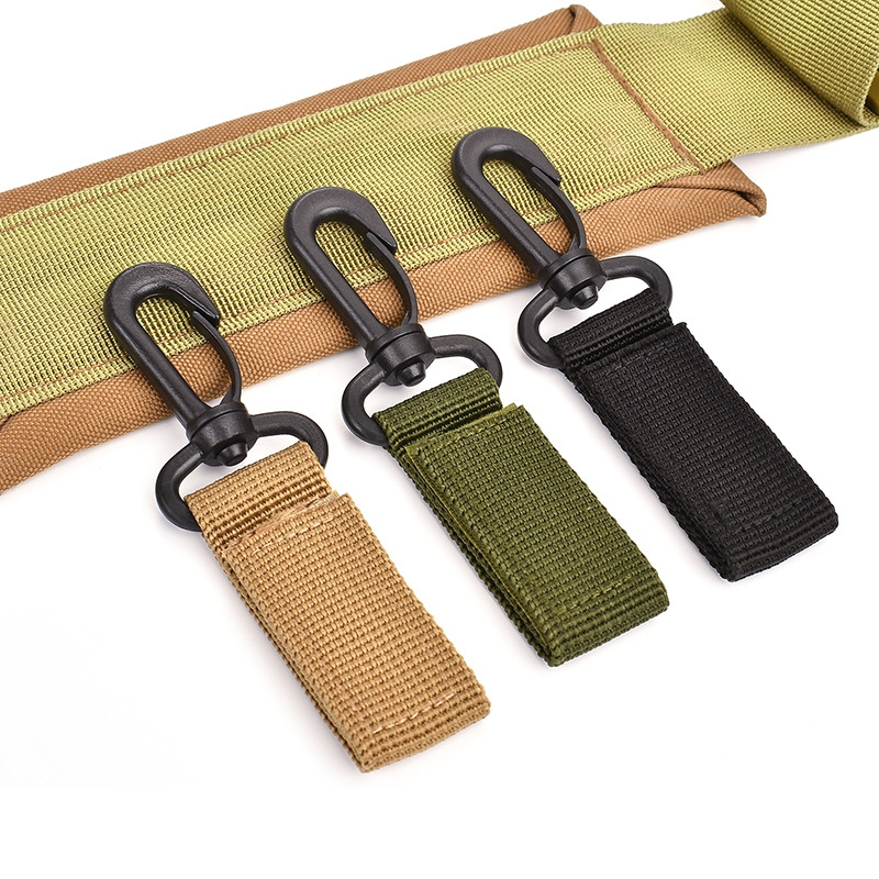 Outdoor Tactical Key Hook Carabiner Hanging Clip Nylon Webbing Belt Molle Buckle
