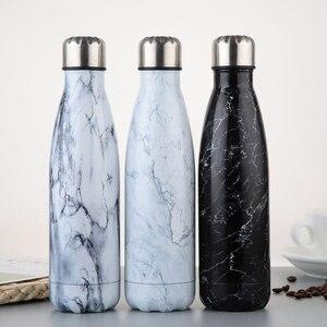 Image 2 - Bouteille deau en acier inoxydable flacon isolé sous vide Sport thermique froide chaude tasse créative tasse en marbre tête tasse 500ML