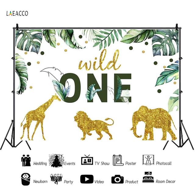 """Cartoon Tropical Jungle Forest Safari Party Photo Backdrop """"Wild One"""" Baby Birthday Party Photography Background For Photostudio"""