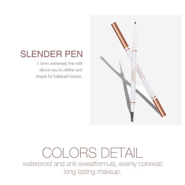 O.TWO.O Eyebrow Pencil Waterproof 4 Colors Double Ended Eyebrow Pencil Eye Brow 1.5mm Pen Brown Cosmetic Beauty Makeup 3