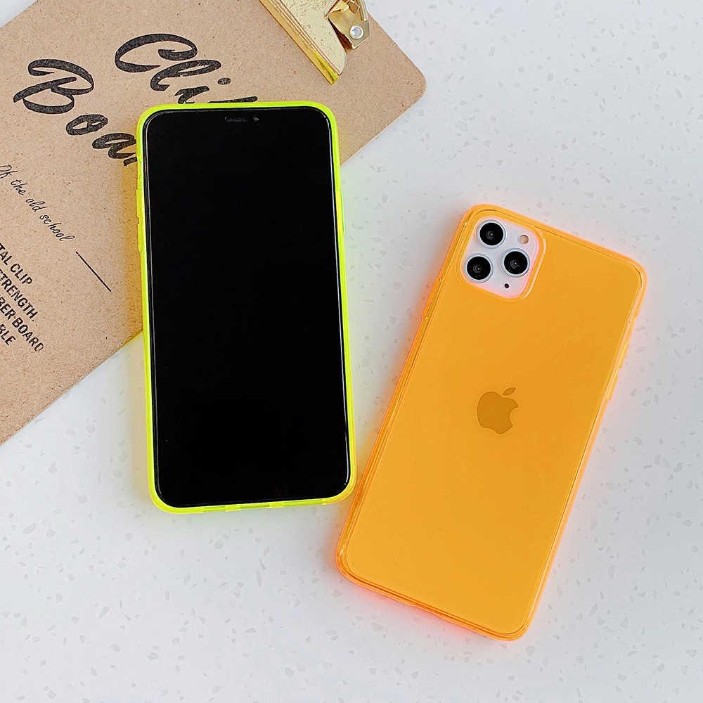 LOVECOM Neon Huỳnh Quang Màu Ốp Lưng Điện Thoại iPhone 12 Mini 11 Pro Max XR X XS Max 7 8 plus Ốp Lưng Mềm Mại Trong Suốt Nắp Lưng
