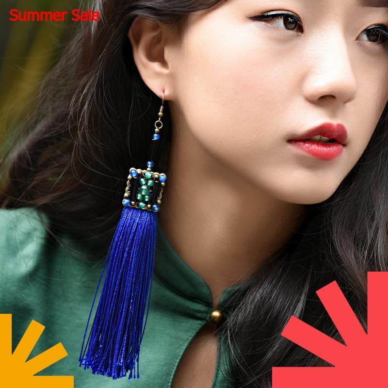 etniska blå tofs fronörhängen för kvinnor långa geometriska - Märkessmycken
