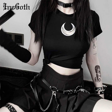 InsGoth Sexy Hollow Out Moon Short Sleeve T-shirts Women Gothic Harajuku Black Bodycon Crop