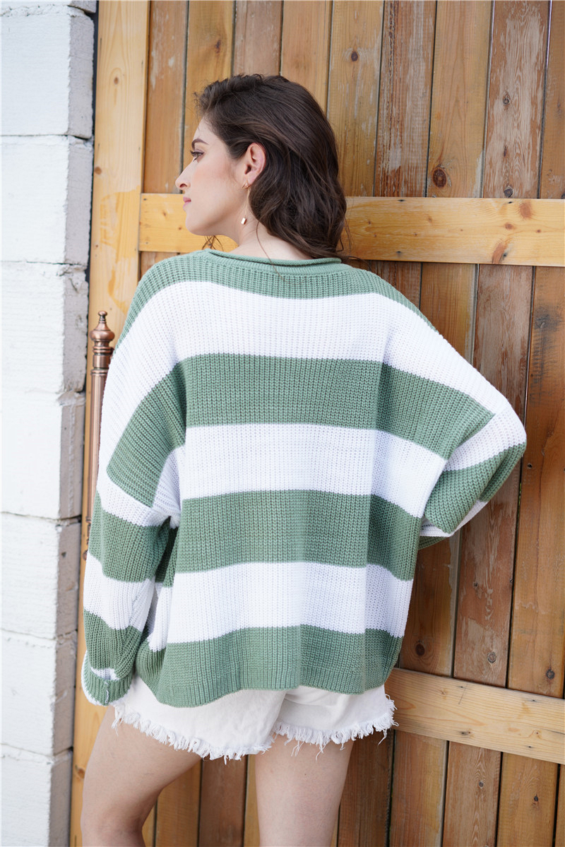 Fitshinling Striped Loose Ladies Sweater Pullover 19 Autumn Winter New Arrival Green Jumpers Knit Sweaters Women Pull Femme 6
