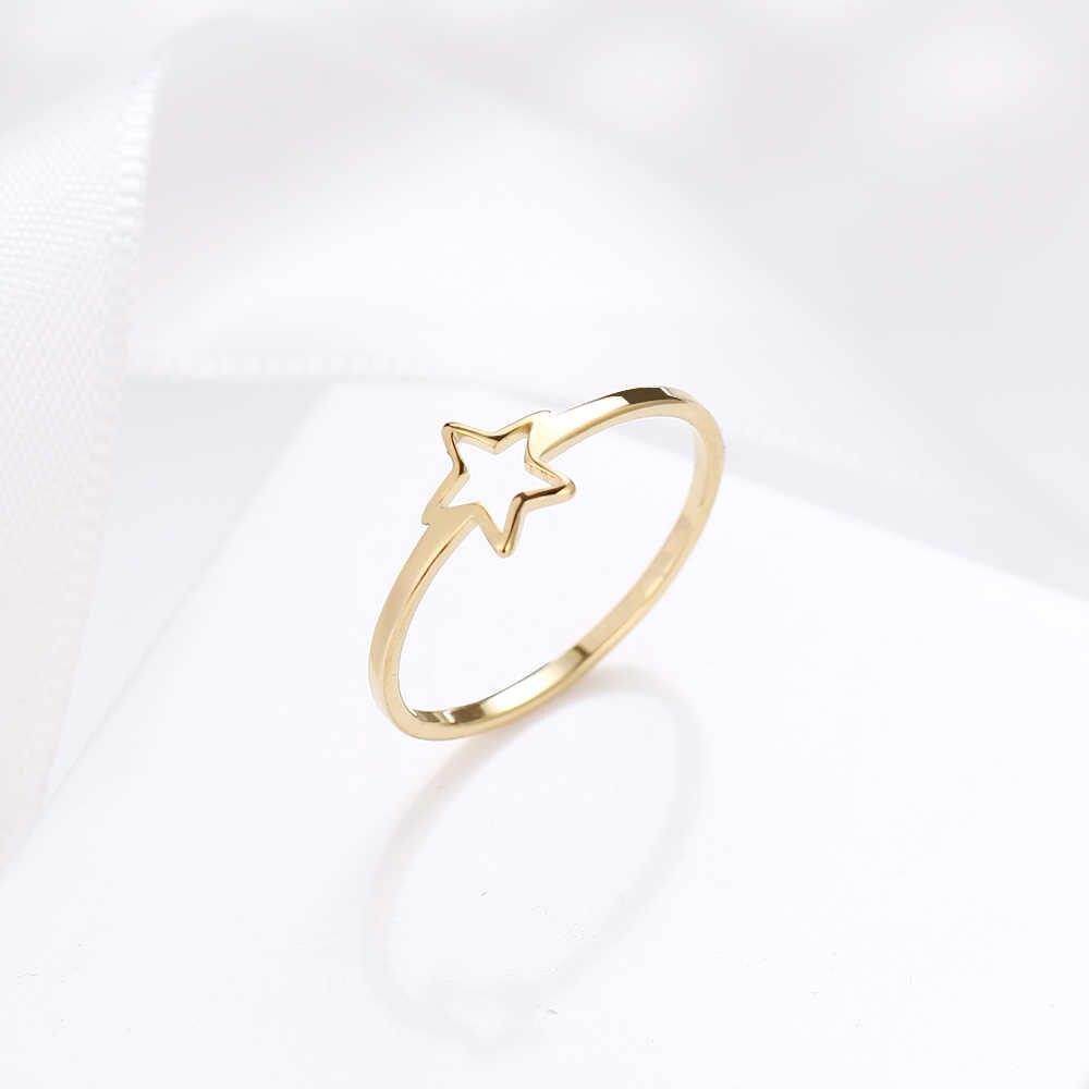 DOTIFI nuevo anillo diario para mujer 316L joyería de acero inoxidable hueco estrella de cinco puntas regalo de fiesta de cumpleaños para mujer E65