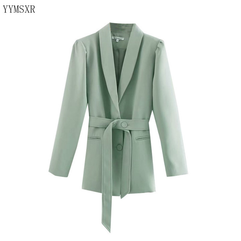 Stylish mid-length women's jackets feminine blazer 2020 new fall casual loose single-breasted ladies green jacket Coat Female