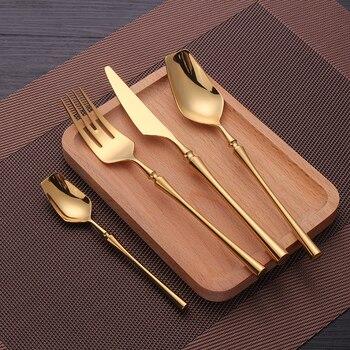 Набор столовых приборов, зеркальные золотые столовые приборы, набор столовых приборов из нержавеющей стали, нержавеющая сталь, золотые вил...