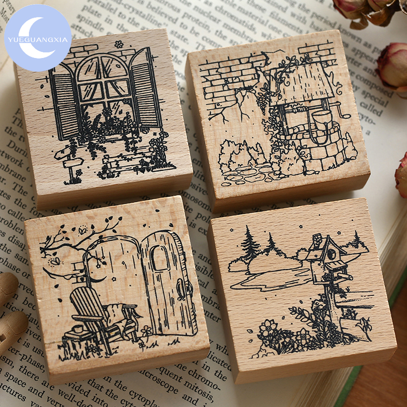 YueGuangXia 4 Designs Rural Peaceful Time Vintage Sights Square Wooden Rubber Stamps For Scrapbooking Deco Craft Wooden Stamps