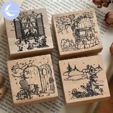 YueGuangXia 4 проекты сельских мирное время старинные достопримечательности квадратные деревянные резиновые штампы для скрапбукинга деко ремесло деревянные штампы