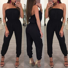Sexy Rompertjes Womens Strapless Off Shoulder Solid Jumpsuit Dames Casual Avondfeest Speelpakje Overalls Vrouwen(China)